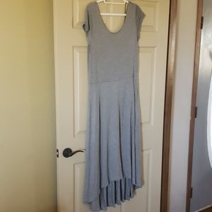 Gray high low scoop neck maxi dress